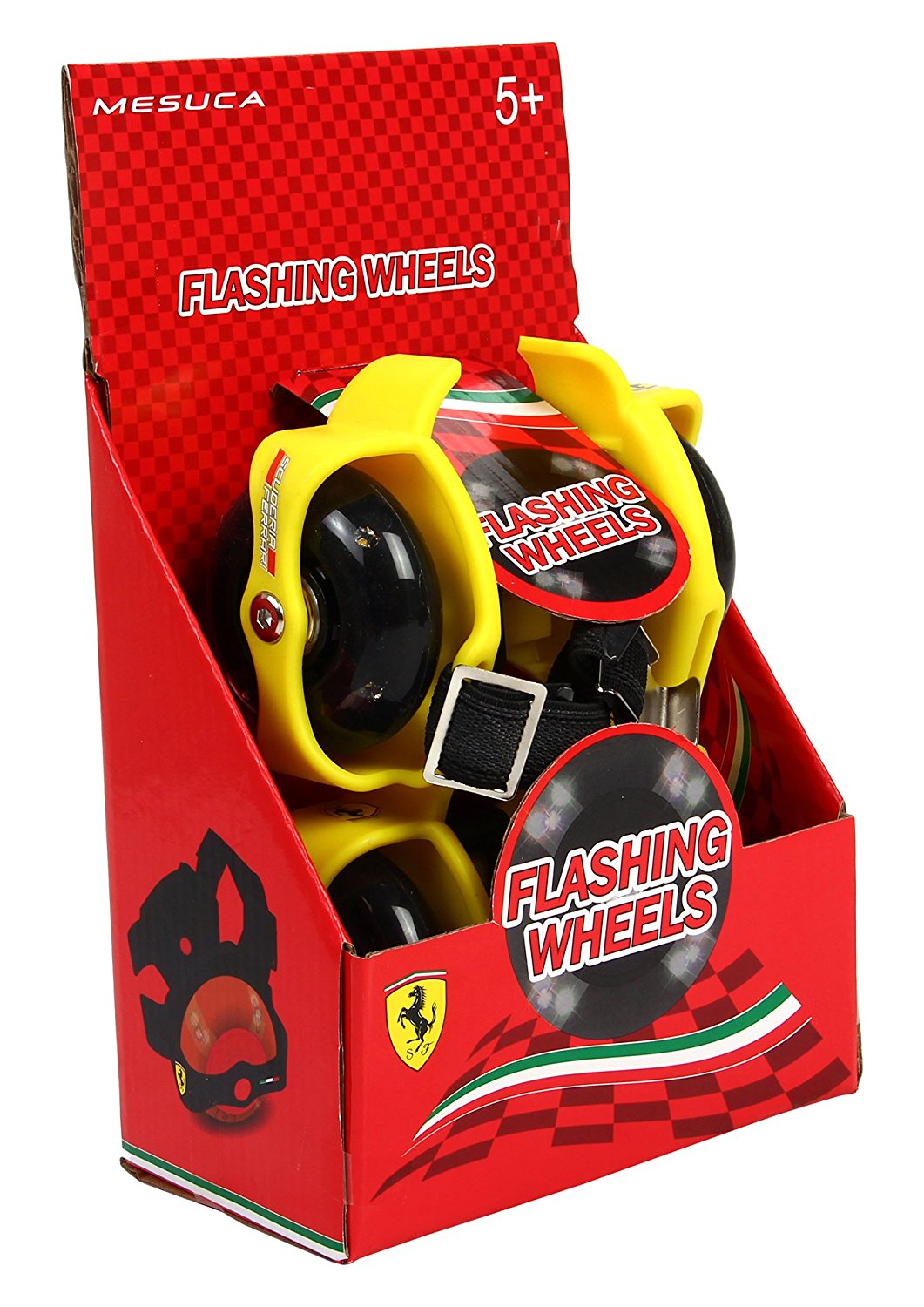 Ferrari Flashing Street Gliders Wheels for Kids with Lights (Yellow)